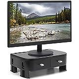 Yorbay Monitorständer Bildschirm-Ständer Laptopständer mit 2 Schubladen Aufbewahrungsfunktion, höhenverstellbar, für Computer, Laptop, Bildschirm, Drucker, TV, Schwarz