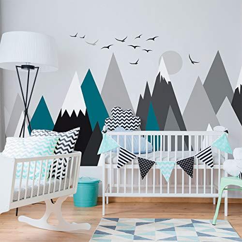 Stickers muraux enfants - Decoration chambre bébé - Stickers muraux enfant - Sticker mural scandinave - Autocollant mural géant montagnes scandinaves Annuska - H60 x L115 cm