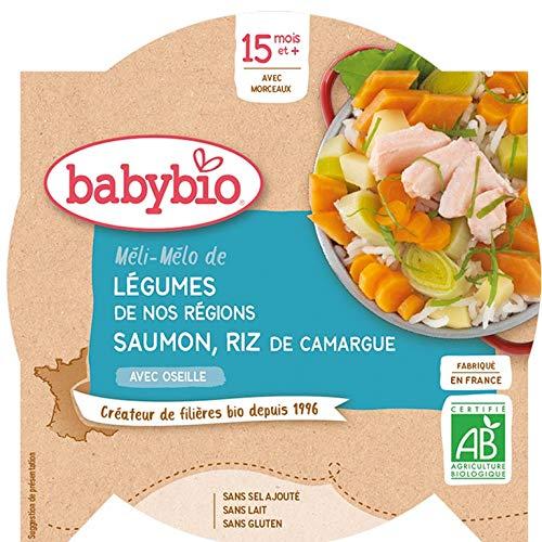 Babybio - Assiette Méli-Mélo de Légumes au Saumon Riz 260 g - 15+ Mois - BIO