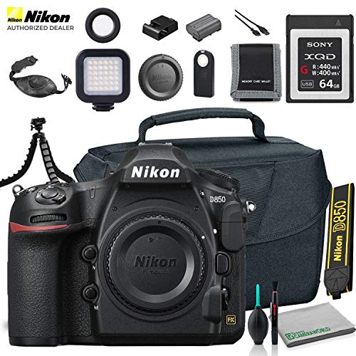 Nikon D850 DSLR Camera (Body Only) (1585) USA Model + Camera Bag + Sony 64GB XQD G Series Memory Card + Wireless Remote Shutter Release + Hand Strap + Portable LED Video Light + More
