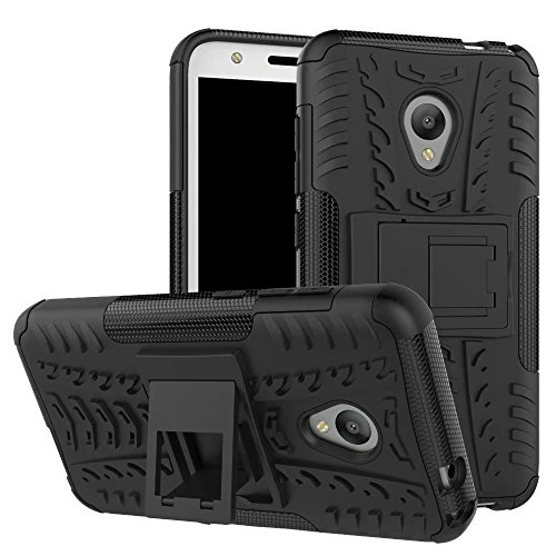 Alcatel U5 Custodia, Hybrid Armor Design with Stand Feature Detachable Dual Layer Protective Shell Hard Back Cover Custodia per Alcatel U5 - Nero