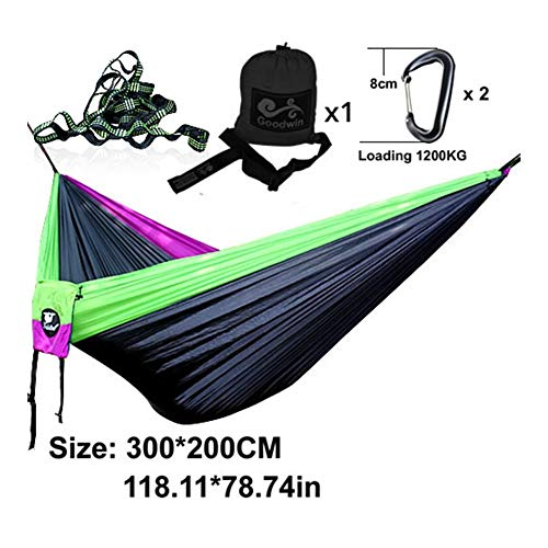 SHENTIANWEI Double Person Parachute Hammock Rope Bed Tree Straps Camping Swing (Color : 21 Black GP S)