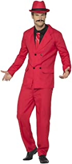 Mens Red Pinstriped 1920s Zoot Suit Gangster Mob Pimp TV Book Film Fancy Dress Costume Outfit
