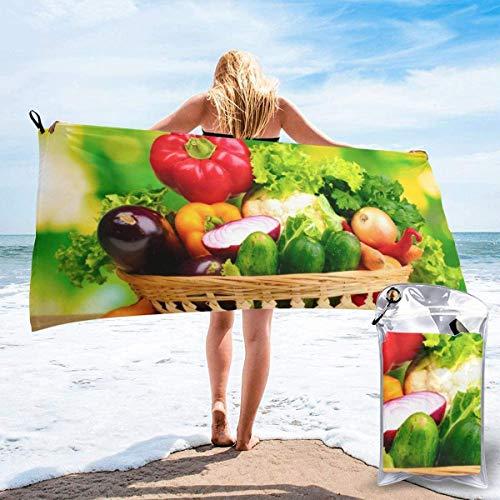 Toalla de Playa 27.5 'X 55',Alimentos Vegetales Arena Ultra Suave Microfibra Portátil Absorbente de Agua Microfibra múltiple Sin Arena Toalla de Playa Manta