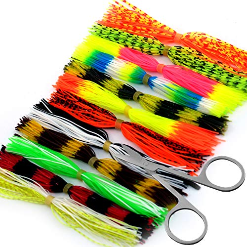 YAZHIDA Fly Fishing Colorful Crystal Tying Materials 24-40 Colors (12 Colors Silicone Skirts)