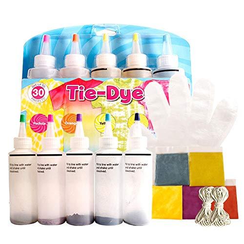 Tie Dye Kit Kiids Adulti, One-Step 5 Colori in Tessuto Pastello Tie-Dye Kit Rainbow Tie Dye Shirt Tessuto Colori Tessili Kit di Tintura Rinnovato