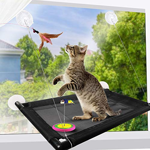 SKRTUAN Cat hammock, cat window seat, suitable for large cats, sturdy window lounger, size 68 x 40 cm.