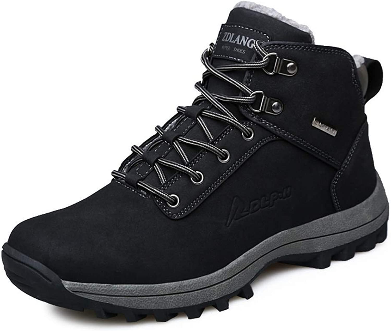 ZHRUI Men Hiking shoes Winter Fur Warm Snow shoes Outdoor Sport Mountain Boots Non-Slip Trekking Boots for Men (color   Black, Size   10 UK)