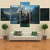 Leinwand Home Decor Gemälde HD-Druck 5 Stück God Of War Kratos Spiel Wandkunst Modernes Poster Cuadros Bilder für Wohnzimmer(Frameless size3)