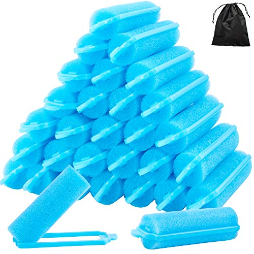 WXJ13 48 Pieces 2cm Foam Sponge Hair Rollers Sponge Border Curl Artifact Not Hurt Hairdressing Tools and 1 Storage Bag