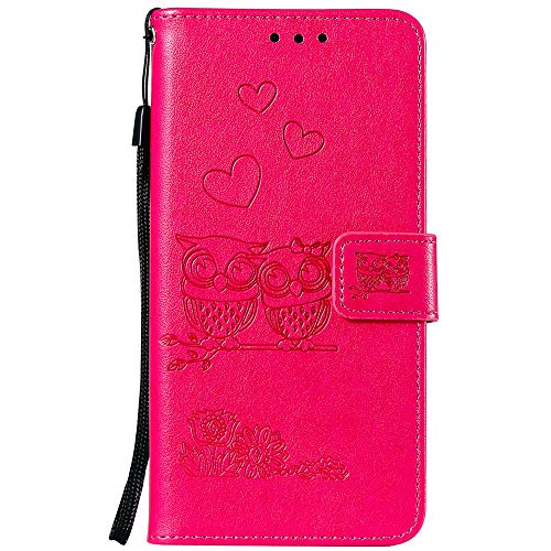 JZ Solid Color Phone Funda [3D Owl and Flowers & Love] For para LG K8 2018/Aristo 2/Aristo 2 Plus/LV3 2018/Rebel 3 LTE/Zone 4/For Paratune 2/Risio 3 Wallet Flip Cover - Rose Red