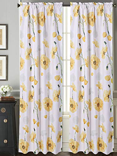 """Sapphire Home 2 Rod Pocket Curtain Panels 84 Inches Long, Decorative Floral Print, Light Filtering Room Darking Thermal Foam Back Lined Curtain Panels for Living/Bedroom/Patio Door, DRP 84"""" Yellow"""