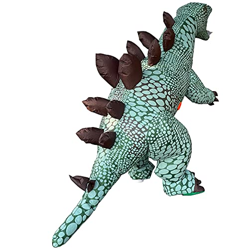 Arokibui Green Stegosaurus Dino Inflatable Costume Funny Blow up Dinosaur Costume Adult Size Cosplay Party Christmas Unisex Halloween Costume Jumpsuit