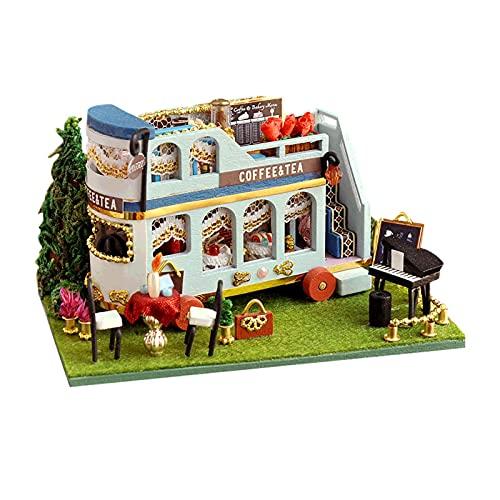 DELITLS Modelo de colección miniatura juguete con luz LED para niños regalo DIY casa de muñecas Kit (C)
