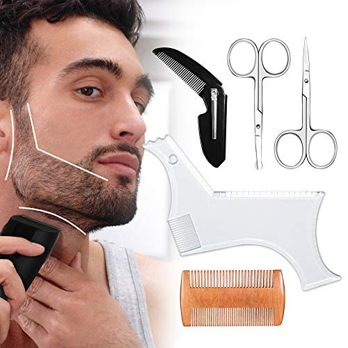 Beard Shaping Tool, Beard Shaping Template & Guide, for Perfect line up & Edging || Comes with Beard Shaper & Wood and Folding Comb & Two Scissors - Works with any Electric Trimmers or Clippers