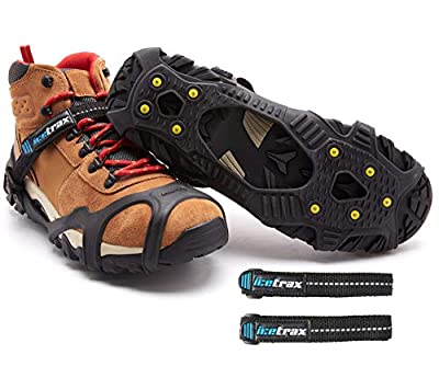 ICETRAX Pro Winter Ice Grips for Shoes and Boots - Ice Cleats for Snow and Ice, StayON Toe, Reflective Heel (V3 Tungsten with Straps, S/M (Men: 5-9 / Women: 6.5-10.5))