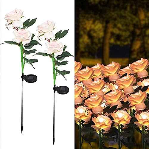 Set di 2 luci solari da giardino a forma di palo di fiori decorativi per esterni a LED, impermeabili