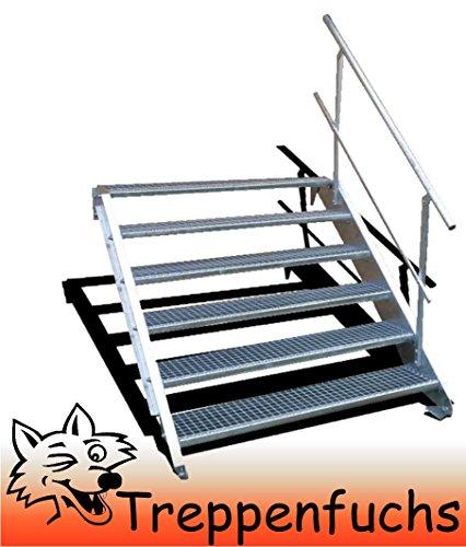 6 Stufen Stahltreppe mit einseitigem Geländer / Breite 70cm Geschosshöhe 90-120cm / Robuste Außentreppe / Wangentreppe / Stabile Industrietreppe für den Außenbereich / Inklusive Zubehör