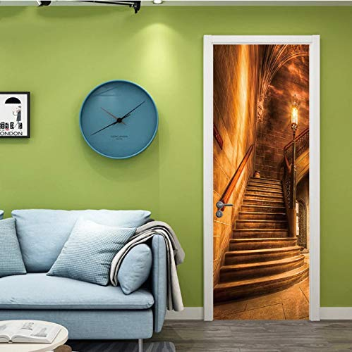 WISOEEP Retro Spiral Staircase DIY Door Wall Stickers Home Decor Living Room Porch Art Mural Self-Adhesive Removable PVC Wall Poster