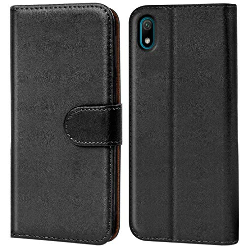 Verco kompatibel mit Huawei Y5 2019 Hülle, Handyhülle für Y5 (2019) Tasche PU Leder Flip Hülle Brieftasche - Schwarz