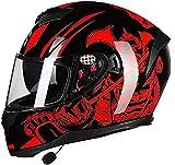 Bluetooth integrado cascos de motocicleta, anti-niebla doble visera de casco de la moto Crash ciclomotor Bobber crucero del interruptor de Cap Racing Piloto, el DOT / ECE Aprobado L (color: E, tamaño: