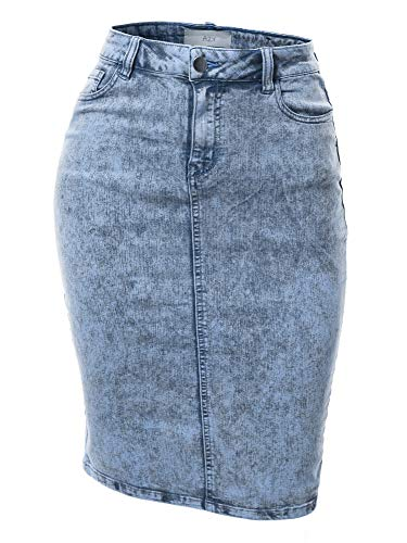 Acid Wash Slim Fit Rayon Knee Length Back Slit Denim Jean Pencil Skirt Blue S