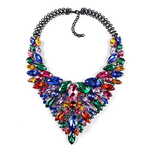 YAZILIND Lujo Rhinestone Colgante Collares Gruesos Exquisita joyería Regalo Fiesta de cumpleaños de Las Mujeres (Color)