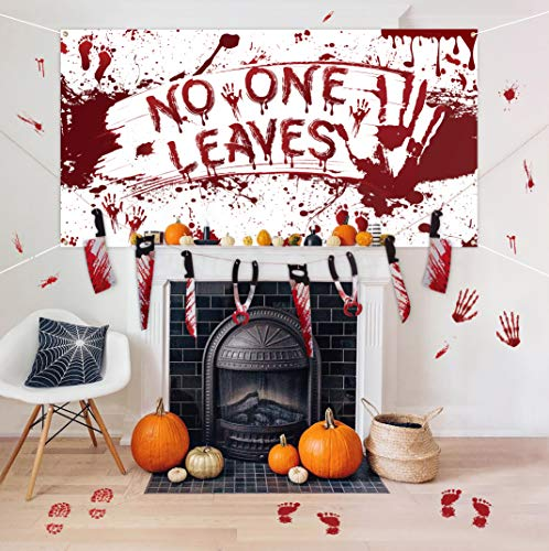 Halloween Decorations Set – Bloody Backdrop & Garland Banner & Footprints Handprints Floor Clings Decals – Zombie…