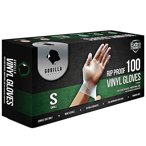 Gorilla Supply Heavy Duty Vinyl Gloves Medium Box of 100 Powder Free 4mil Disposable