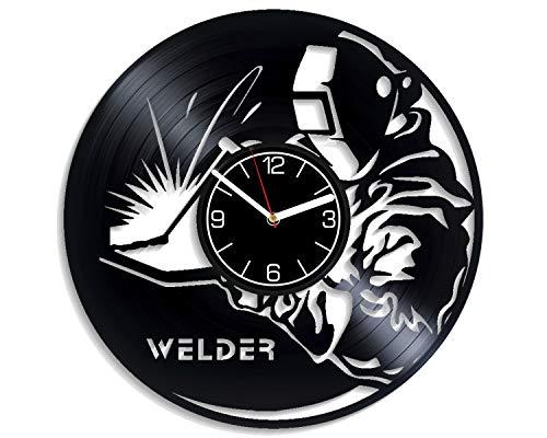 Kovides Profession Decoration 12 inch Wall Clock Welder Vinyl Record Wall Clock Profession Wall Art Welder Birthday Gift for Man Welder Clock Profession Wall Clock Large Welder Vinyl Clock