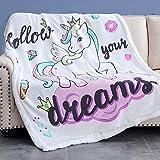 Rose Home Fashion RHF Unicorn Gifts for Girl, Unicorn Blanket, Unicorn Gifts for Daughter, Sherpa Blanket, Cartoon, Cute & Warm, Throw, 50' x 60', White