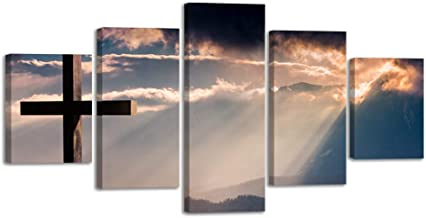 Large Christ Crosses Cross Canvas Prints Wall Art Sunset Christian Poster Home Decor for Bedroom Living Room Pictures Decals 5 Panel Painting Artwork Framed Ready to Hang (60