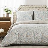 Bedsure Baumwolle Bettwäsche 135x200 cm geblümte Bettbezug Set mit Retro Paisley Muster, 2 teilig weiche Flauschige Bettbezüge mit Reißverschluss und 1 mal 80x80cm Kissenbezug