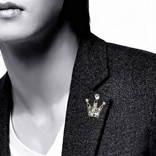 TseenYi Broche de diamantes de imitación de moda, mini corona de cristal, pin para el pecho, alfiler de ropa, regalo para hombres y mujeres (plata)