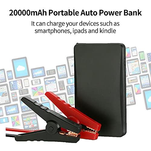 Arrancador de coche, 400 A, pico 12 V, 20000 mAh, batería portátil para coche, cargador de batería externo con linterna y cable de carga