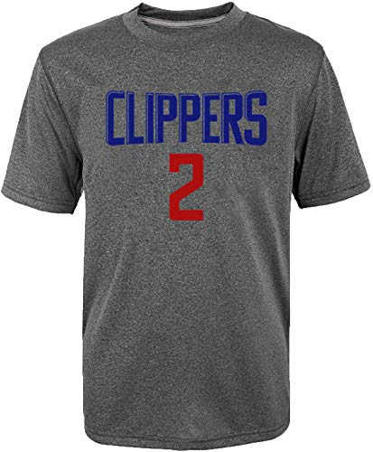 NBA Kids Youth Heather Gray Tri-Blend Game Time Name and Number Player T-Shirt (8, Kawhi Leonard Los Angeles Clippers Gray)