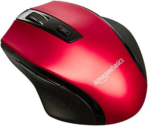AmazonBasics - Ratón inalámbrico ergonómico - DPI ajustable - Rojo