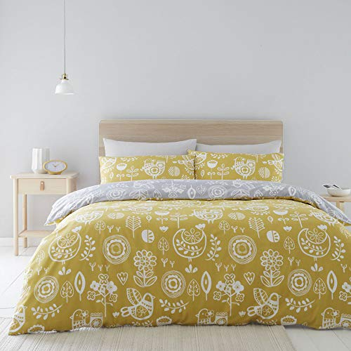 Catherine Lansfield Retro Birds Easy Care Double Duvet Set Ochre