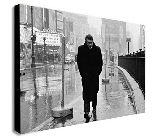 Kunstdruck auf Leinwand, gerahmt, Motiv James Dean In Times Square, verschiedene Größen, Holz und Leinwand, A3 16x12 inches