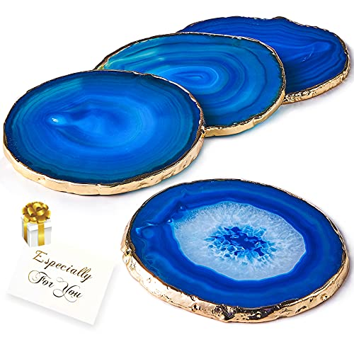 """Blue Agate Coasters Set of 4,Brazilian Geode Coasters for Drinks with Gold Rim(4""""-3.5""""),Natural Gem Stone Coasters Blue,Gemstone Cup Mat for Home Decor by Yougoals(4)"""