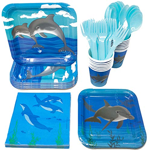 Dolphin Party Supplies Packs (113+ Pieces for 16 Guests!), Dolphin Party Supplies, Ocean Birthday, Tableware