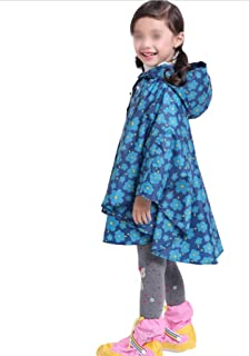 KTYXDE Breathable Poncho Children's Hooded One-Piece Raincoat 100% Waterproof Raincoat (Color : Blue, Size : M)