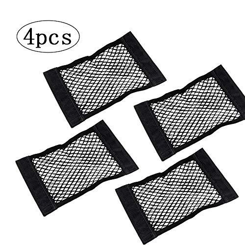 inherited 4 pcs Kofferraumnetztaschenmit starken Klettstreifen, Autonetz Kofferraumtasche Kofferraum Organizer mit Klett- schwarz(25×40cm)