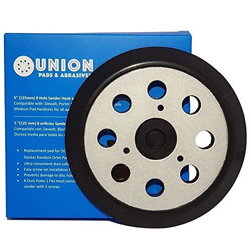 Union Pads & Abrasives OEM1 5 Inch 8 Hole Replacement Sander Hook and Loop Orbital Sander Pad for DeWalt 151281-08, DW4388 Fits DeWalt DW421, DW423, D26453, D26451, DW422, Porter Cable 390K 382 343/VS