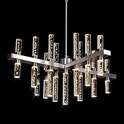 MEEROSEE Modern Chandelier Lighting Led Pendant Lights Fixture with Acrylic Shade Satin Nickel Island Chandeliers Ceiling Dining Room Living Room Contemporary Kitchen Dimmable Warm White