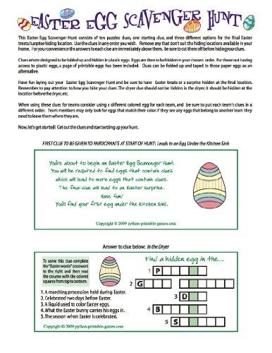Printable Easter Egg Scavenger Hunt Clues Game [Download]