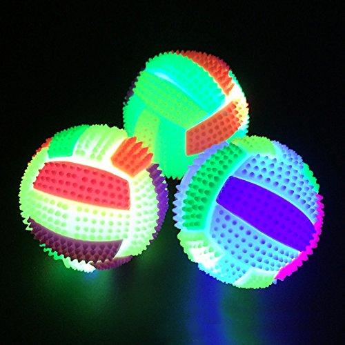 Behavetw Pelota de Voleibol LED para Niños con luz Intermitente, Cambio de Color, Bola de Erizo, para Interior y Exterior, Juguete para Mascotas
