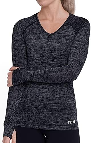 TCA Elle Quickdry Damen Laufshirt/Funktionsshirt - Langarm - Schwarz, L