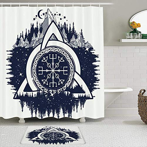 VAMIX Shower Curtain Sets with Non-Slip Rugs,Celtic Trinity Knot Occult Style Helm Mystical Awe Aegishjalmur Signs Symbols,Waterproof Bath Curtains Hooks and Bath Mat Rug Included