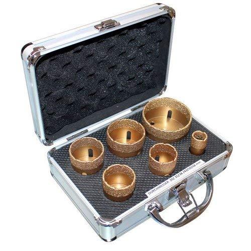 Boorkronen set 50234 goud droogboorkronen met 6 boorkronen Ø 20, 35, 38, 43, 50, 68 mm professionele diamantboorkronen in transportkoffer